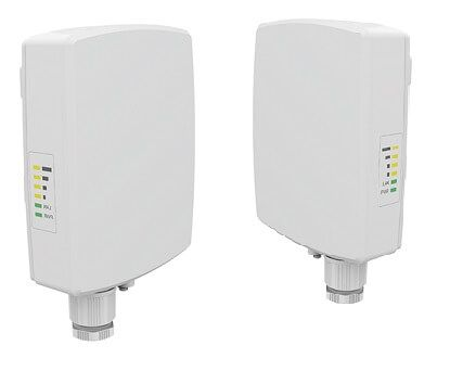 300Mbps Datarate, 5GHz Wireless Bridge. 15dBi Antenna, 29dBm, WPA/WPA2, POE/PS, 25ft. cat5e (2x), Pre-Configured - 1/4 mile - PAIR