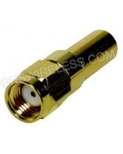 RP-SMA-Male, Right Angle (R/A) Crimp Connector for Low Loss 195 coaxial cable