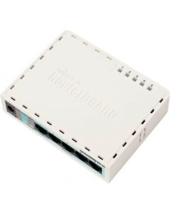 RouterBOARD 951-2n with AR9331 CPU, 32MB RAM, 5x LAN, 2.4GHz 802.11b/g/n Access point with Integrated Antenna, RouterOS L4, plastic case, PSU