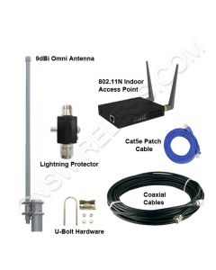 2.4GHz, 802.11B/G, Wireless Hotspot Package, Indoor Access Point, 9dBi Omni Directional Antenna, Accessories included  - 500ft.+ Range