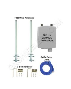 GNS-1445-1WN, 2.4GHz, 300Mbps, Wi-Fi Hotspot Package, 250mW Outdoor Access Point, Dual 7dBi Omni Directional Antennas, Accessories included  - 250ft.+ Range