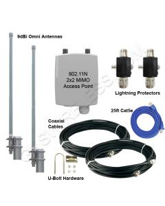 GNS-1446-1WN, 2.4GHz, 300Mbps, Wi-Fi Hotspot Package, 250mW Outdoor Access Point, Dual 9dBi Omni Antennas, Lightning Arrestors & Accessories Inc.,  - 500ft.+ Range