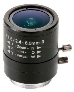 CS mount Varifocal Megapixel DC-Iris Lens 2.4-6mm for AXIS P1344 and 211M/223M.
