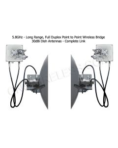 220Mbps, 5.7 - 5.8GHz, Full Duplex, Point to Point Wireless Bridge, 32dBi Dish Antennas, 29dBm TX/RX Power, 128bit encryption, POE/PS included,  1-yr warranty - Pre-Configured - 10 Mile | Complete Link