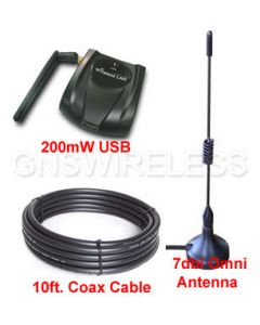 High Power USB Adapter + Magnetic Mount Omni Antenna